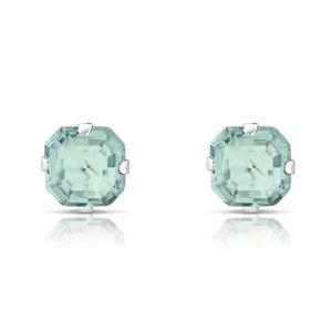 Jewelry - NEW STUD EARRINGS 1.3 CTW BABY BLUE CZ ASSCHER-CUT